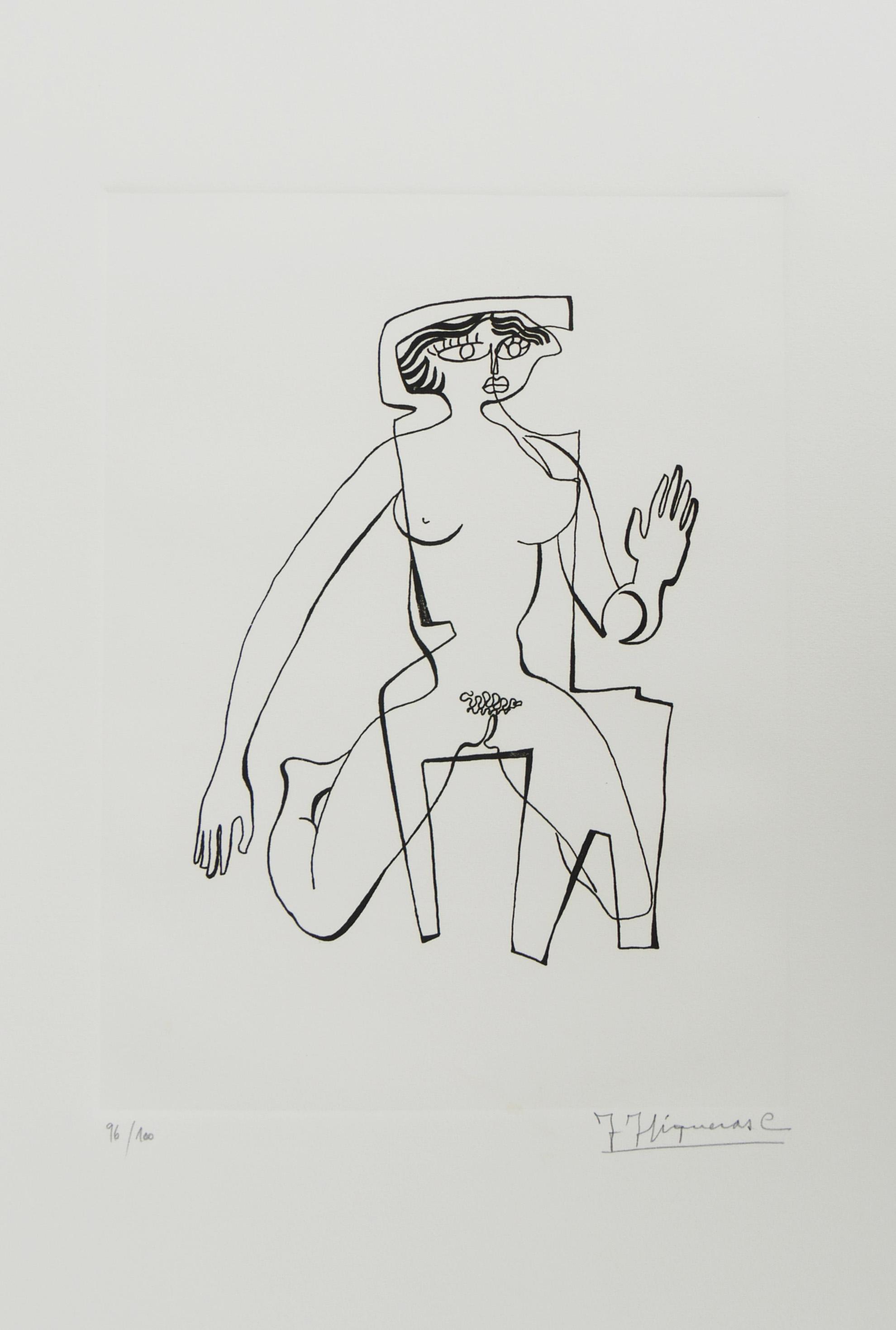 """1972-1. Desnudo de mujer. 31x 21 cm. Rotulador negro. Original que se grabó por el Grabador Pavel Albert, con destino a la carpeta """"Recuerdo de la Barraca de Federico García Lorca, por Jacinto Higueras"""" en 1999. 1972"""