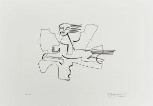 """1972-2. Muerte. 31x21 cm. Rotulador negro. Original que se grabó por el grabador Pavel Albert, con destino a la carpeta """"Recuerdo de la Barraca de Federico García Lorca por Jacinto Higueras"""" en 1999. 1972"""