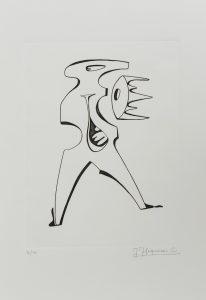 """1972.3. Figura abstracta. 31x21 cm. Rotulador negro. Original que se grabó por el grabador Pavel Albert, con destino a la carpeta """"Recuerdo de la Barraca de Federico García Lorca por Jacinto Higueras"""" en 1999. 1972"""