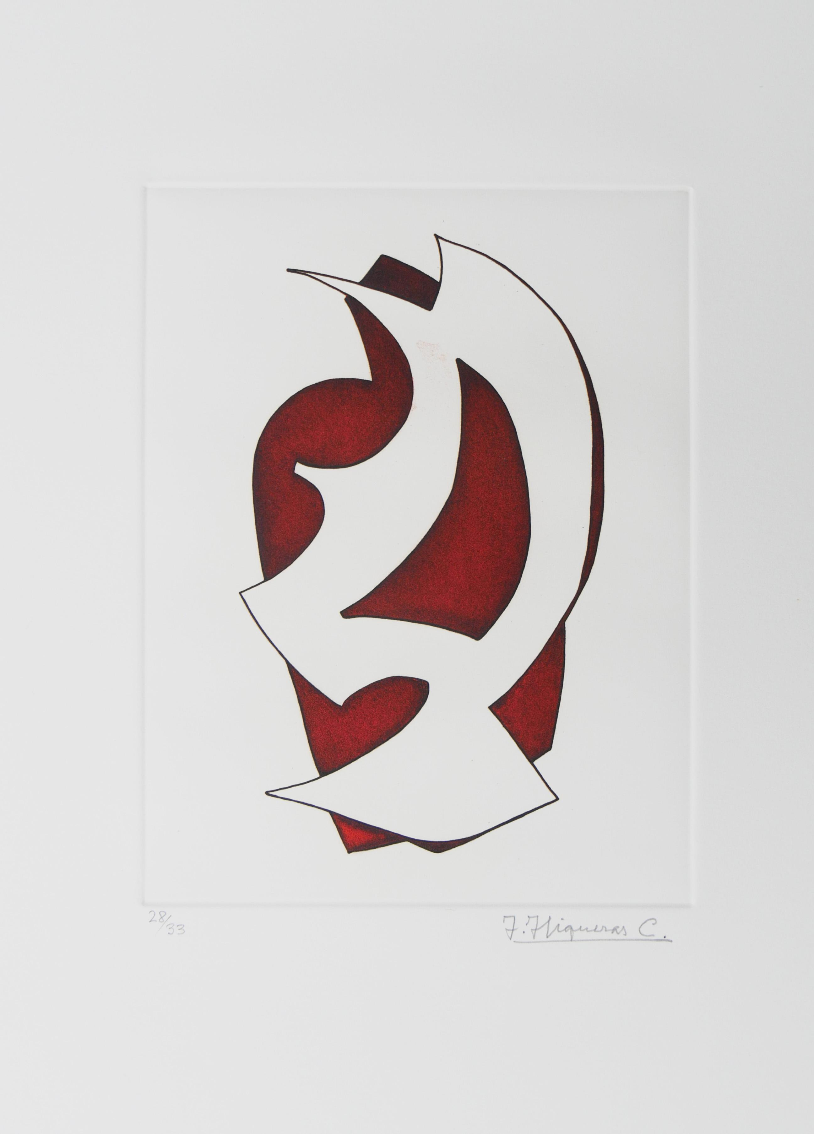 1976.3. Forma abstracta. 34x24,5 cms. Flomaster en marrón y negro, sobre papel. Modelo para el grabado realizado por el grabador Pavel Albert en 2003.