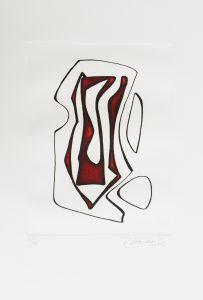 1976.4. Forma abstracta.34x24,5 cms. Flomaster en marrón y negro, sobre papel. Modelo para el grabado realizado por el grabador Pavel Albert en 2004