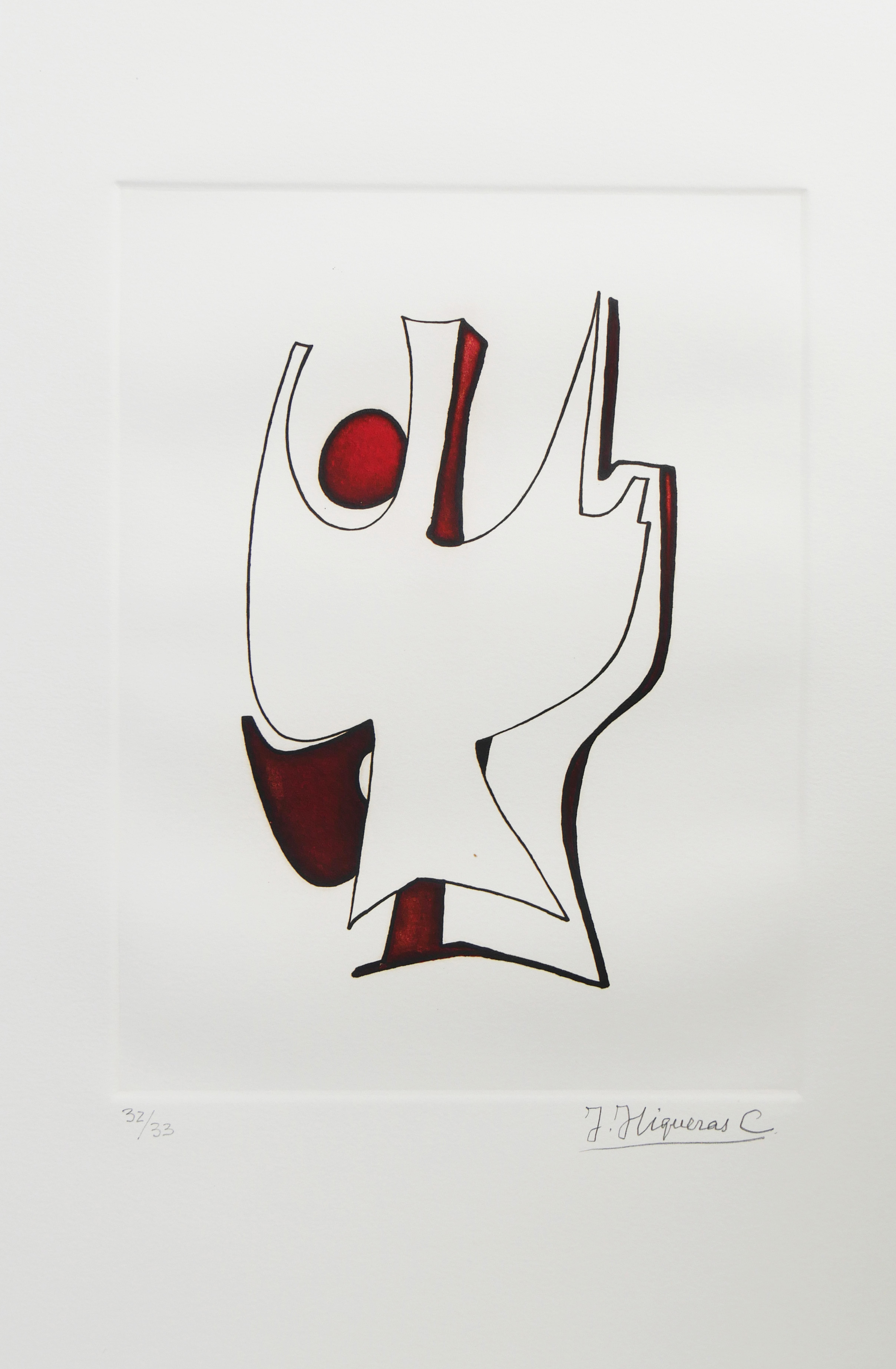 1976.5. Forma abstracta.34x24,5 cms. Flomaster en marrón y negro, sobre papel. Modelo para el grabado realizado por el grabador Pavel Albert en 2004. 1976