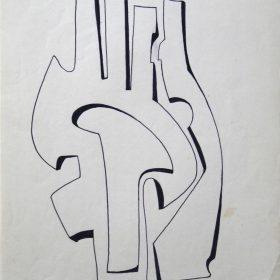 """1972.4. Forma abstracta. 31x21 cm. Rotulador negro. Original que se grabó por el grabador Pavel Albert, con destino a la carpeta """"Recuerdo de la Barraca de Federico García Lorca por Jacinto Higueras"""" en 1999. 1972"""