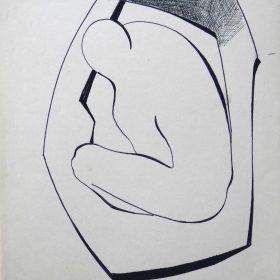 1972-5. Cuerpo dentro de una forma. 31x21 cm. Rotulador negro. 1972