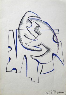 1972.6. Forma abstracta, Flomaster negro y azulina con sombreado en bolígrafo negro, sobre papel. 1972
