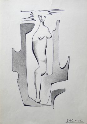 1972.7. Mujer. 31x21 cm. Rotulador negro. 1972