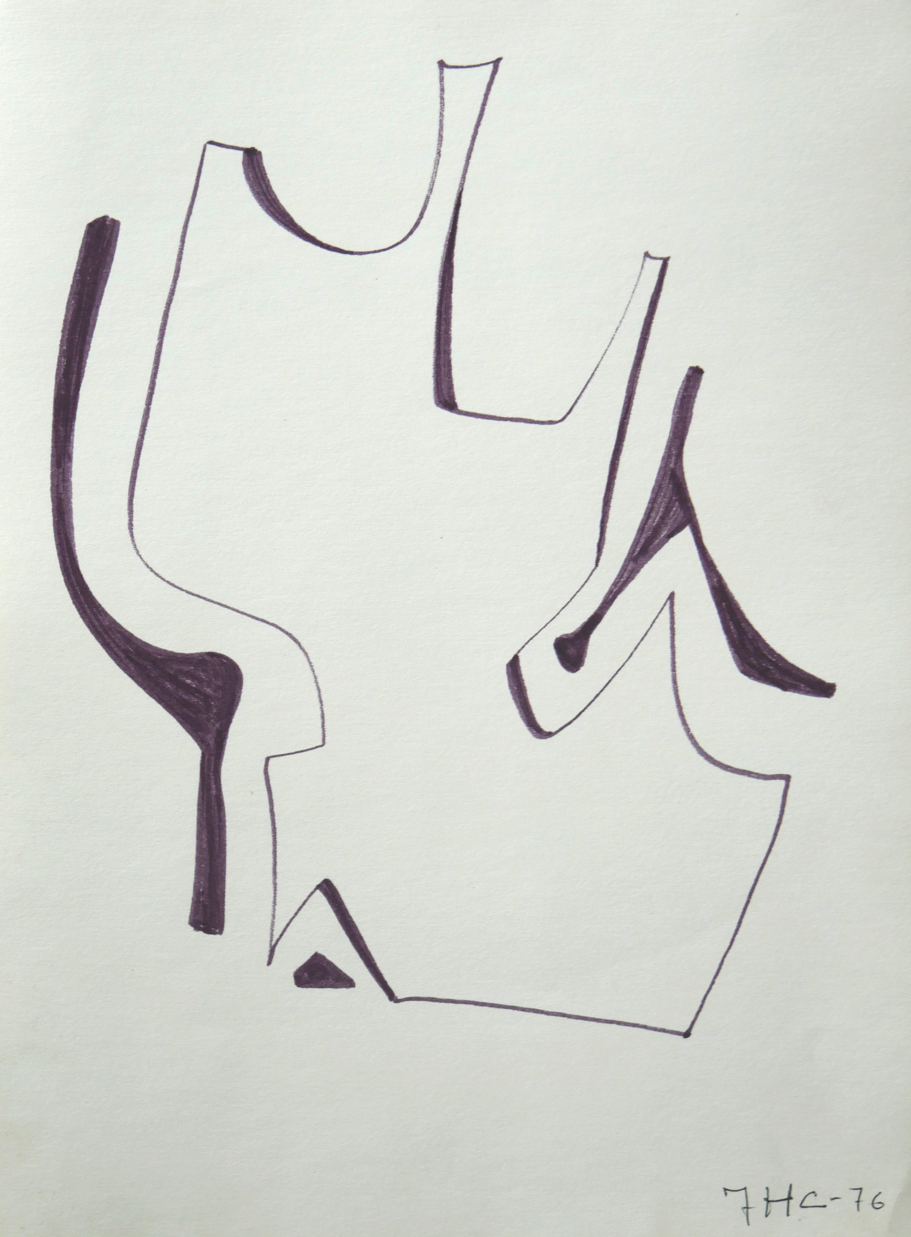 Forma abstracta. 33x24 cm. Rotulador negro. 1976