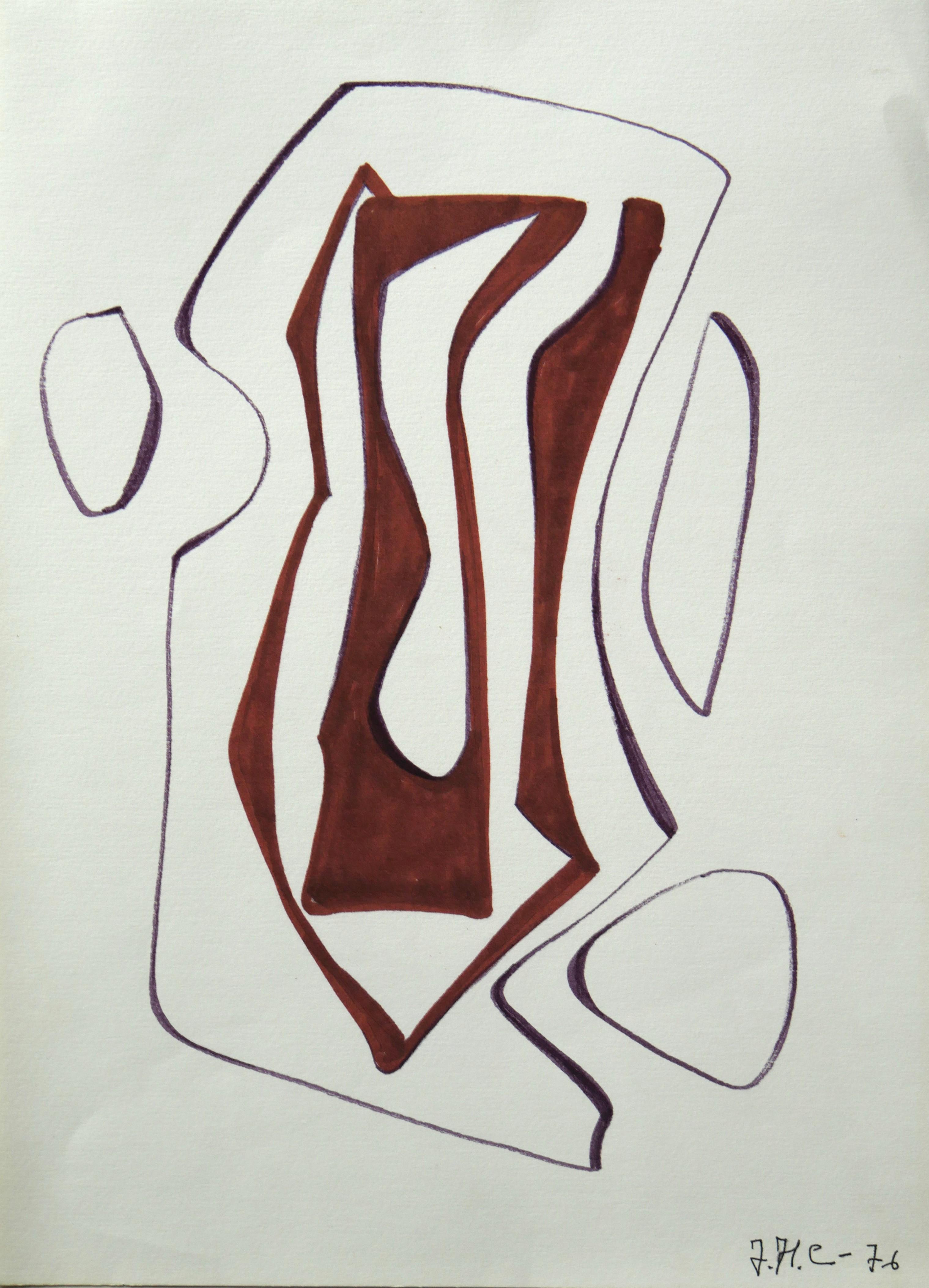 1976.Forma abstracta.34x24,5 cms. Flomaster en marrón y negro, sobre papel. Modelo para el grabado realizado por el grabador Pavel Albert