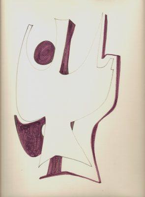 1976.Forma abstracta.34x24,5 cms. Flomaster en marrón y negro, sobre papel.