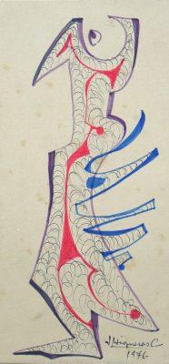 1976.6. Forma abstracta. 16,5x11,5 cms. Flomaster en tres colores, con sombreado, Sobre cartulina. 1976