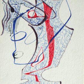 1976.7. Forma abstracta. 22x10 cms. Flomaster en tres colores, con sombreado, sobre cartulina ocre. 1976