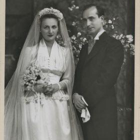 1942.1. Jacinto Higueras Cátedra y Ana Mª Rodríguez Aragón el día de su boda, Madrid, 23 de octubre de 1942