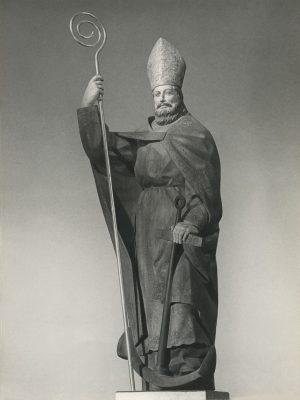 1962.1. San Nicolás, madera de embero patinada, 130 cms. Iglesia de San Nicolás del Grao, Gandía, Valencia. 1962
