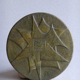 1969.1. 1ª Llamada a los Pueblos, Medalla, bronce, 13,5x0,4 cms. Radio Nacional de España. 1969