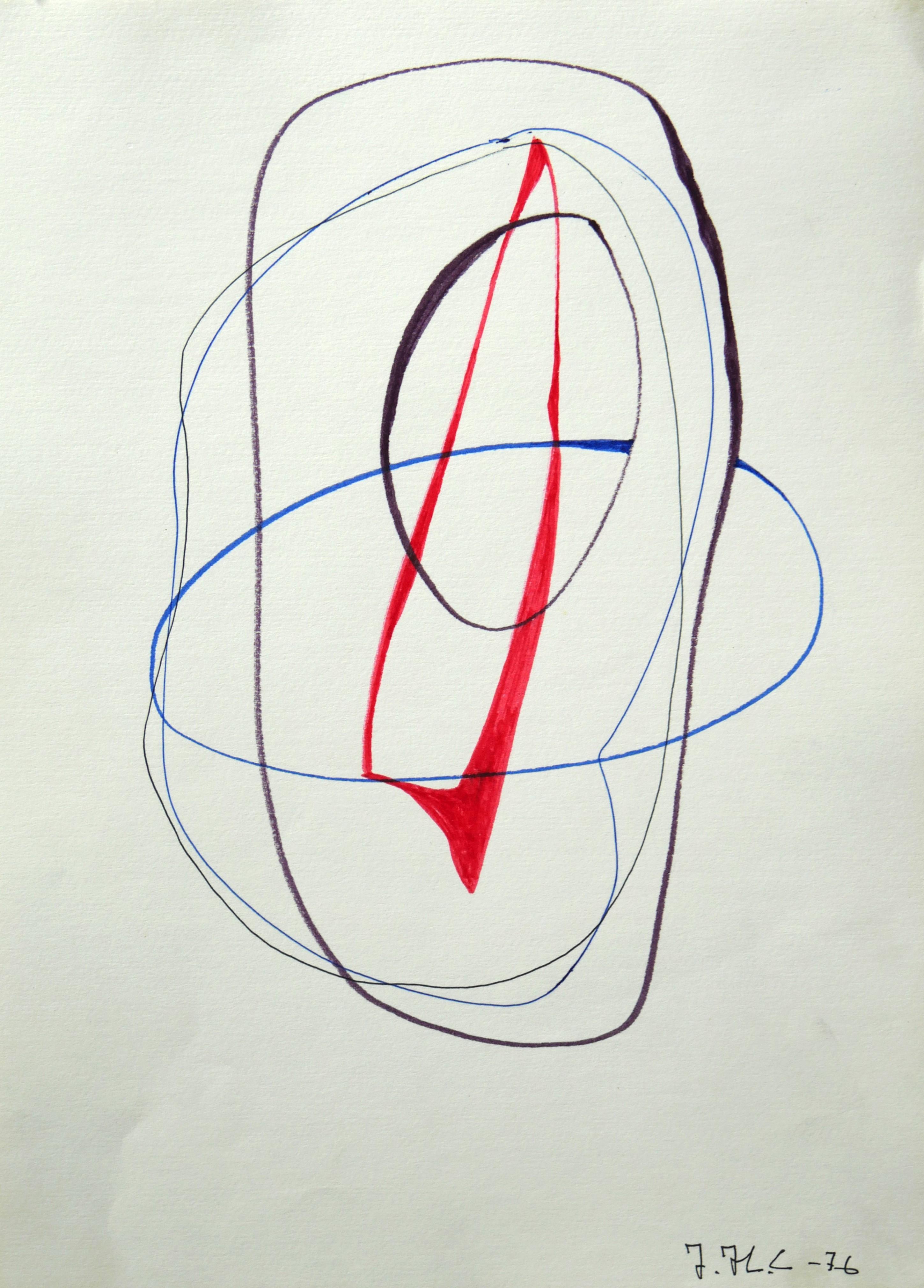 1976.10. Forma abstracta. 34x24,5 cms. Flomaster, negro, bermellón, azulina, sobre papel. 1976