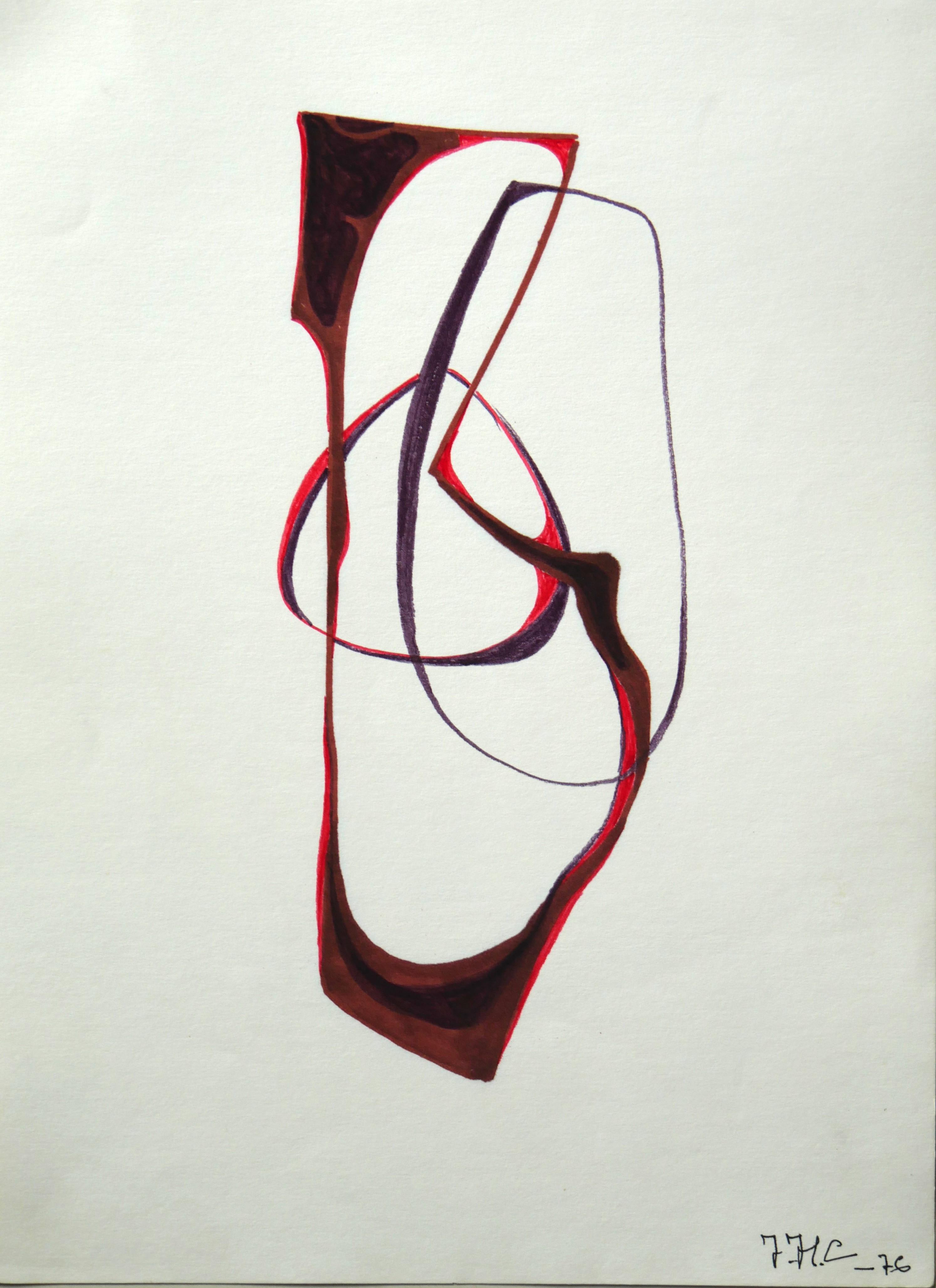 1976.11. Forma abstracta. 34x24,5 cms. Flomaster , negro, bermallón, marrón, sobre papel. 1976