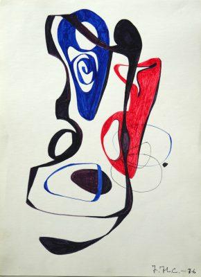 1976.12. Forma abstracta. 34x24,5 cms. Flomaster , negro, bermellón, azulina, sobre papel. 1976
