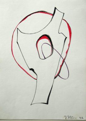 1976.8. Forma abstracta. 34x24,5 cms. Flomaster negro, bermellón, sobre papel. 1976