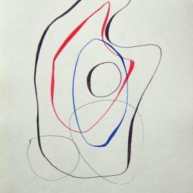 1976.9. Forma abstracta. 34x24,5 cms. Flomaster negro, bermellón, azulina, sobre papel. 1976