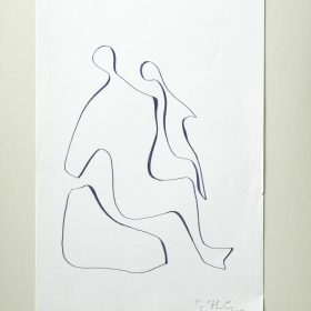 1977.1. Figura de mujer. 32x22 cm. Rotulador negro.