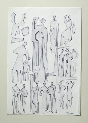 1977.2. Figuras. 32x22 cm. Lápiz con sombreado.