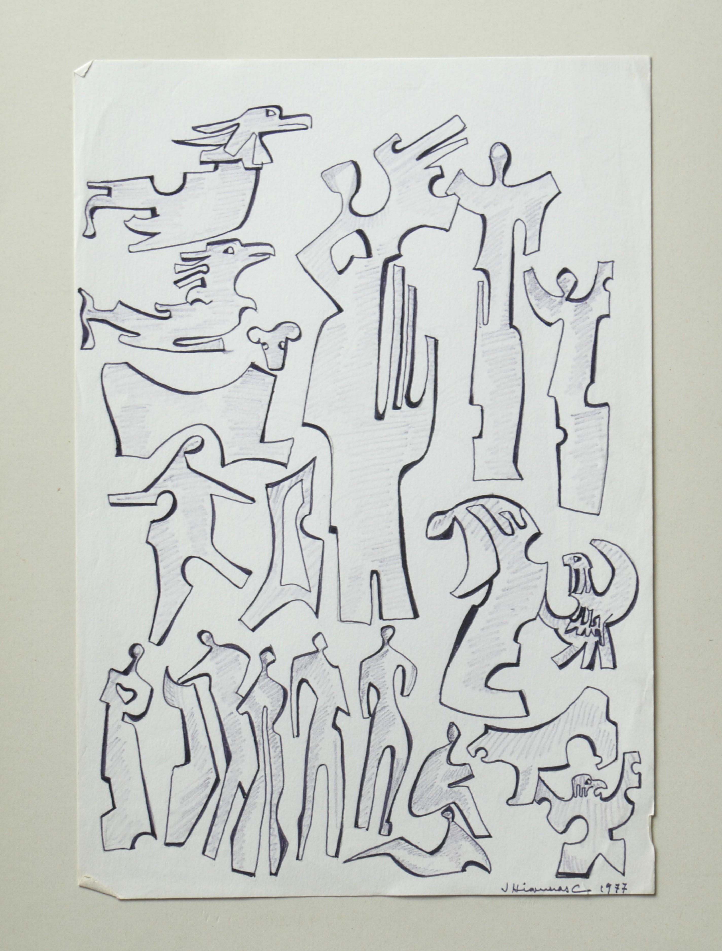 1977.3. Figuras con aves rapaces. 32x22 cm. Rotulador negro, con sombreado a lápiz.