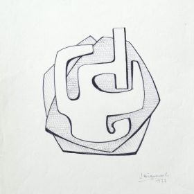 1977.5. Forma abstracta. 31x21 cm. Rotulador negro, con sombreado.