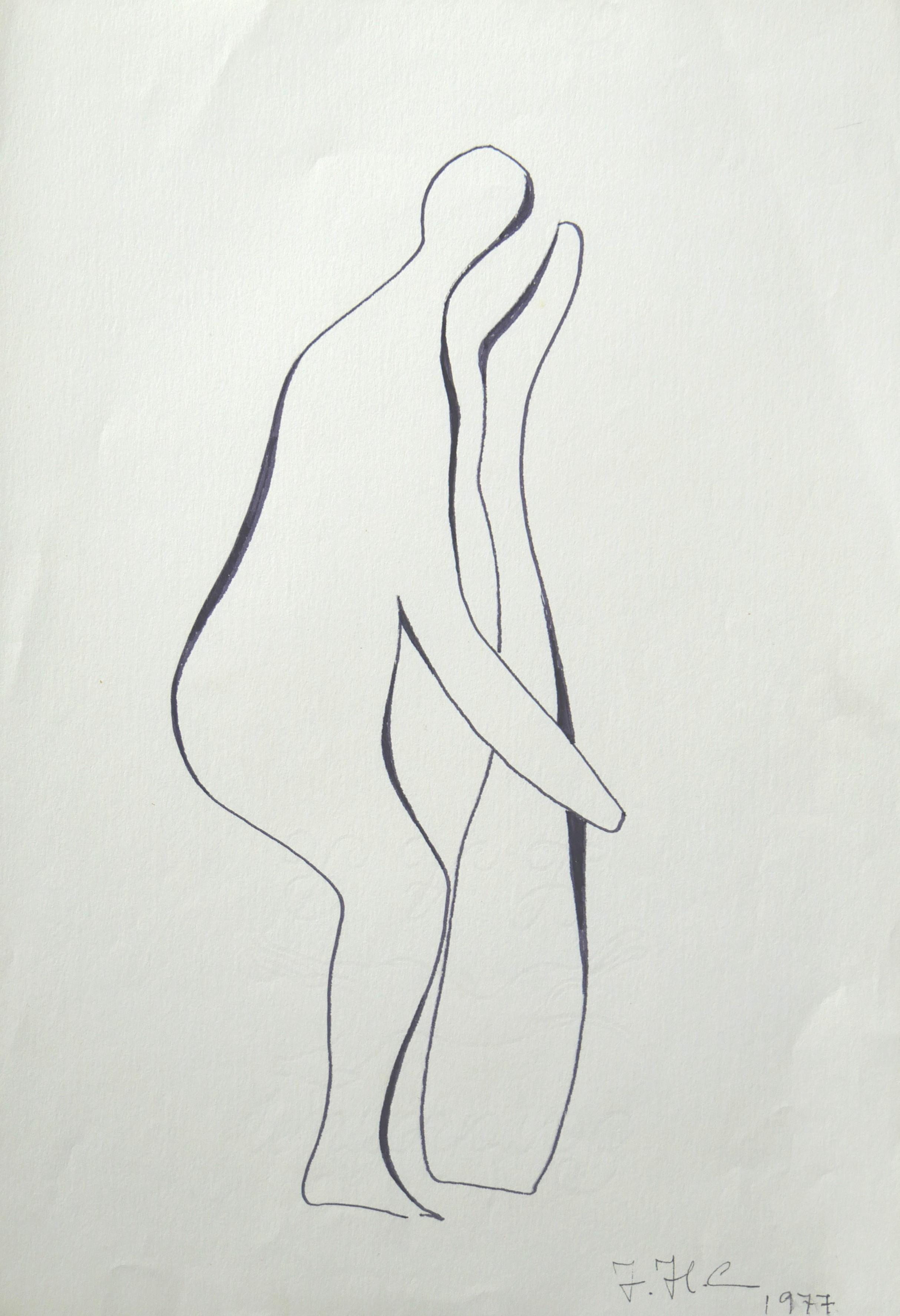1977.6. Desnudo .31x21 cm. Rotulador negro.