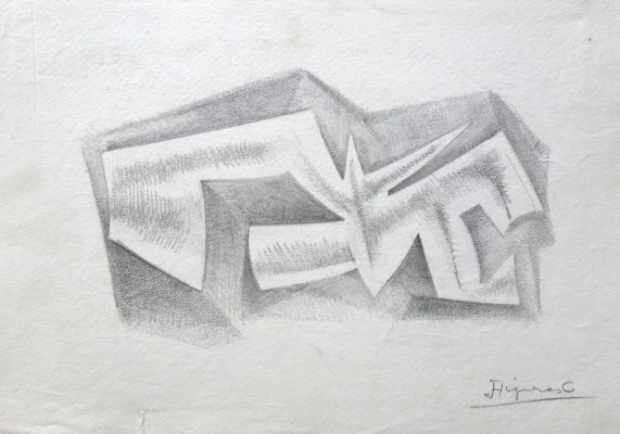 1977.8. Forma abstracta. 31x21 cm. Lápiz con sombreado.