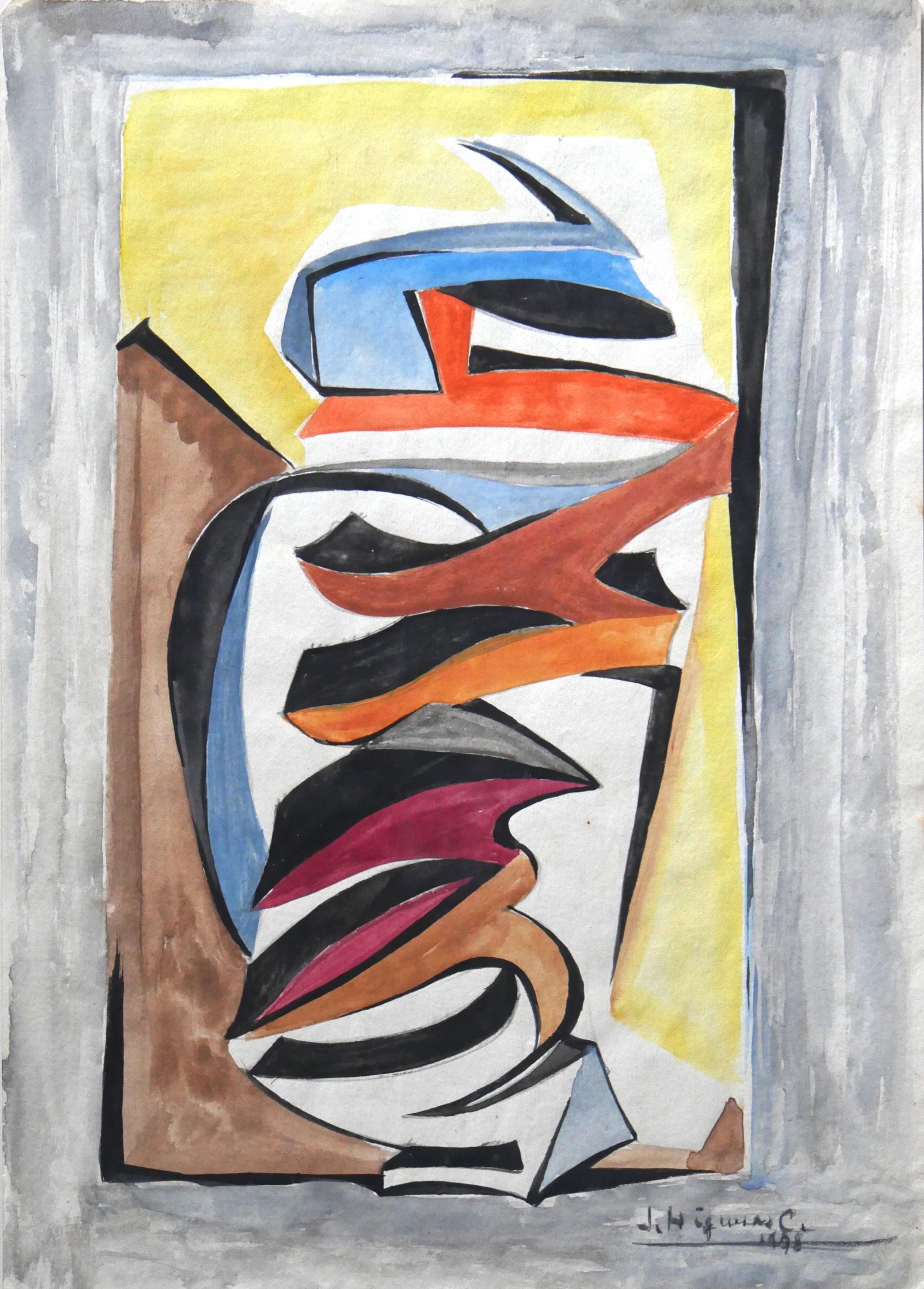1978. Forma abstracta.32x22,5 cms. Acuarela en varios colores sobre papel.
