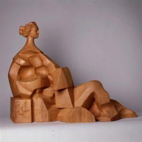 1978. La Cultura, madera, 65x85x30 cms. Boceto de la Escultura Monumental instalada en el exterior de la Biblioteca Municipal Santa María de Benquerencia, Rio Alberche, 38, Toledo. 1978