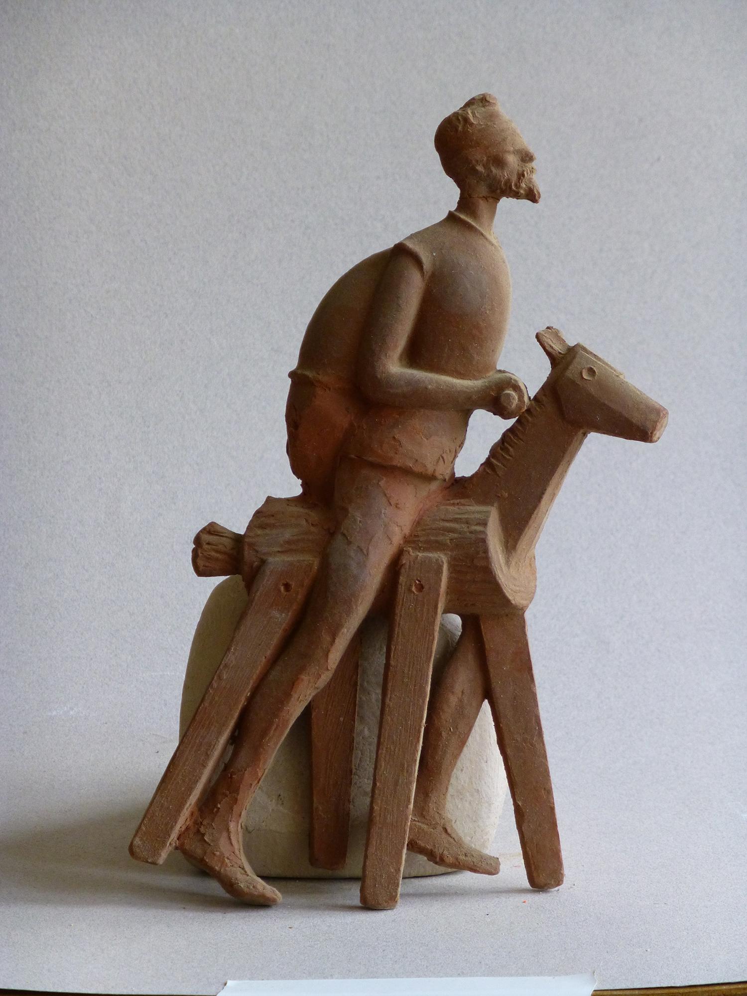 1979.1. Don Quijote montado en clavileño, Trofeo, bronce, 20x10x2,05 cms. Premios Quijote 1980, R.N.E. 1979
