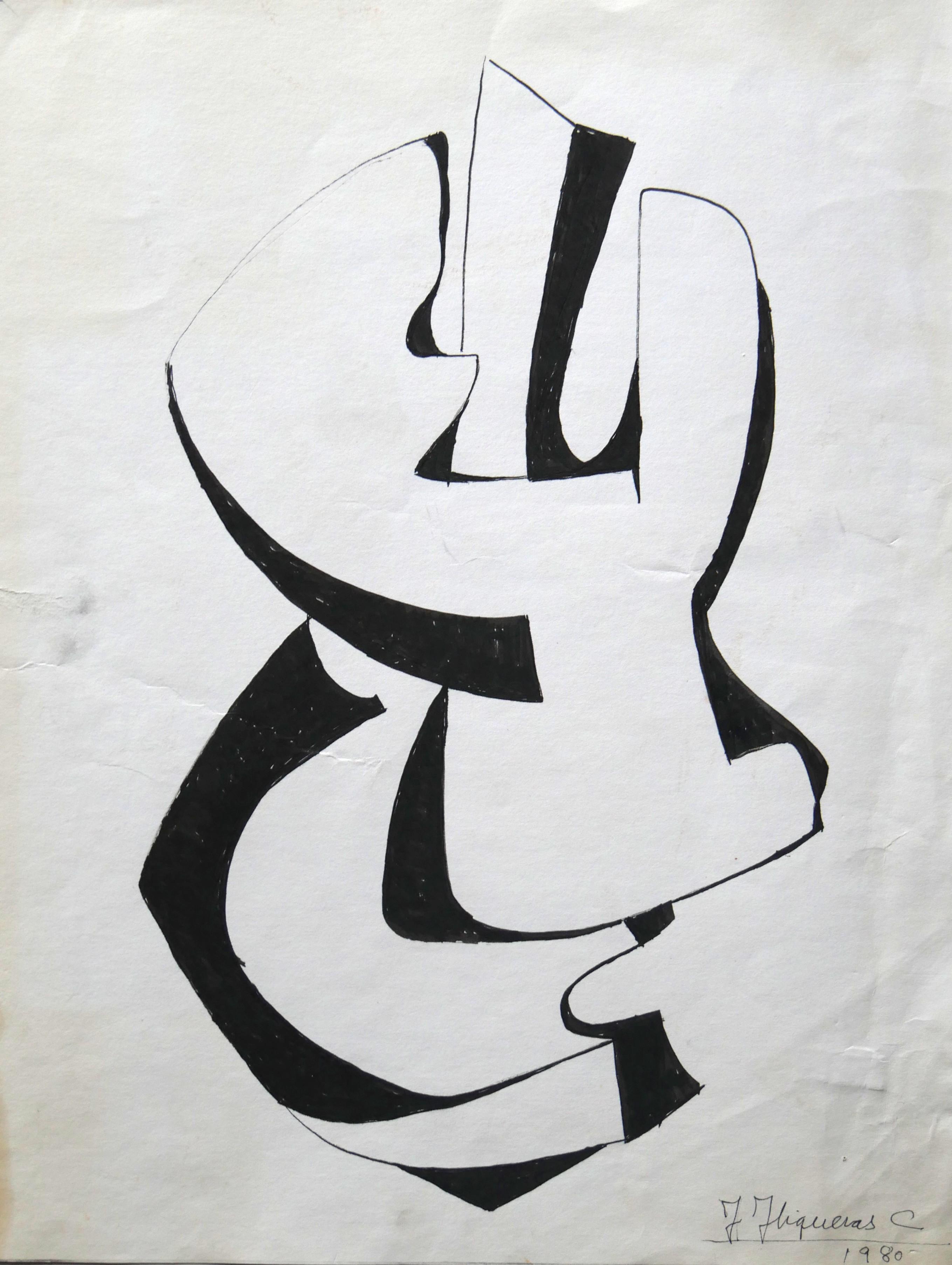 1980. Forma abstracta. 36 x 27 cm. Rotulador negro.