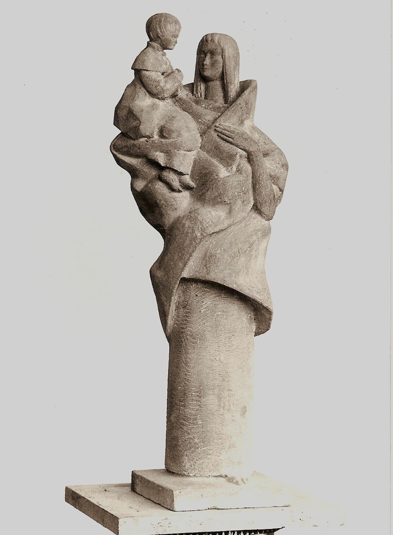 1985.2. Virgen con Niño, Maternidad, cemento patinado.1986