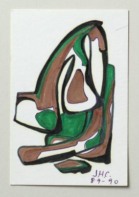 1990. Forma abstracta. 16,5x11 cms. Flomaster en negro, verde, marrón, sobre cartulina. 1990