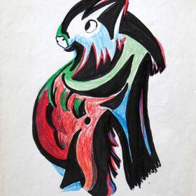 1993. Pájaro fantástico. 30,5x23 cms. Ceras de colores y flomaster negro sobre papel. 1993