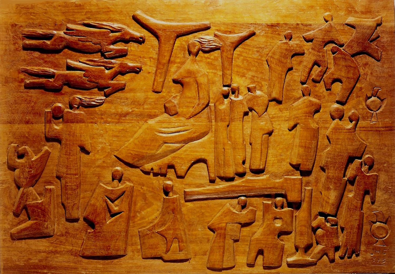 1995.1. Siluetas, bajorrelieve. Madera de caoba, talla directa, 48x68x07 cms. 1995