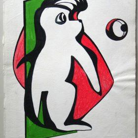 1996.1. Animal fantástico. 41x33 cms. Flomaster en tres colores sobre papel. 1996