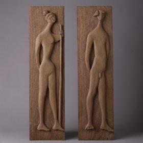 1996.1. Adán y Eva, dos tablas bajorrelieve. Madera, talla directa, 63x26,5x05 cms. 1996