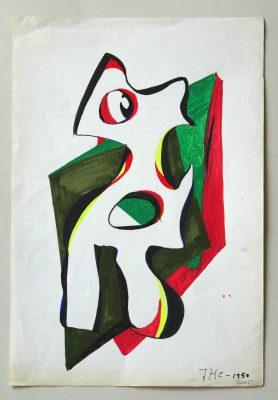 1996.2. Forma abstracta.34x23 cms. Flomaster en cuatro colores, sobre papel. La fecha en el dibujo está equivocada. 1996