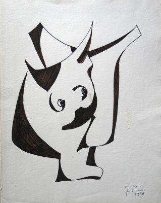 1996.3. Toro. 41 x33 cm. Rotulador marrón. 1996