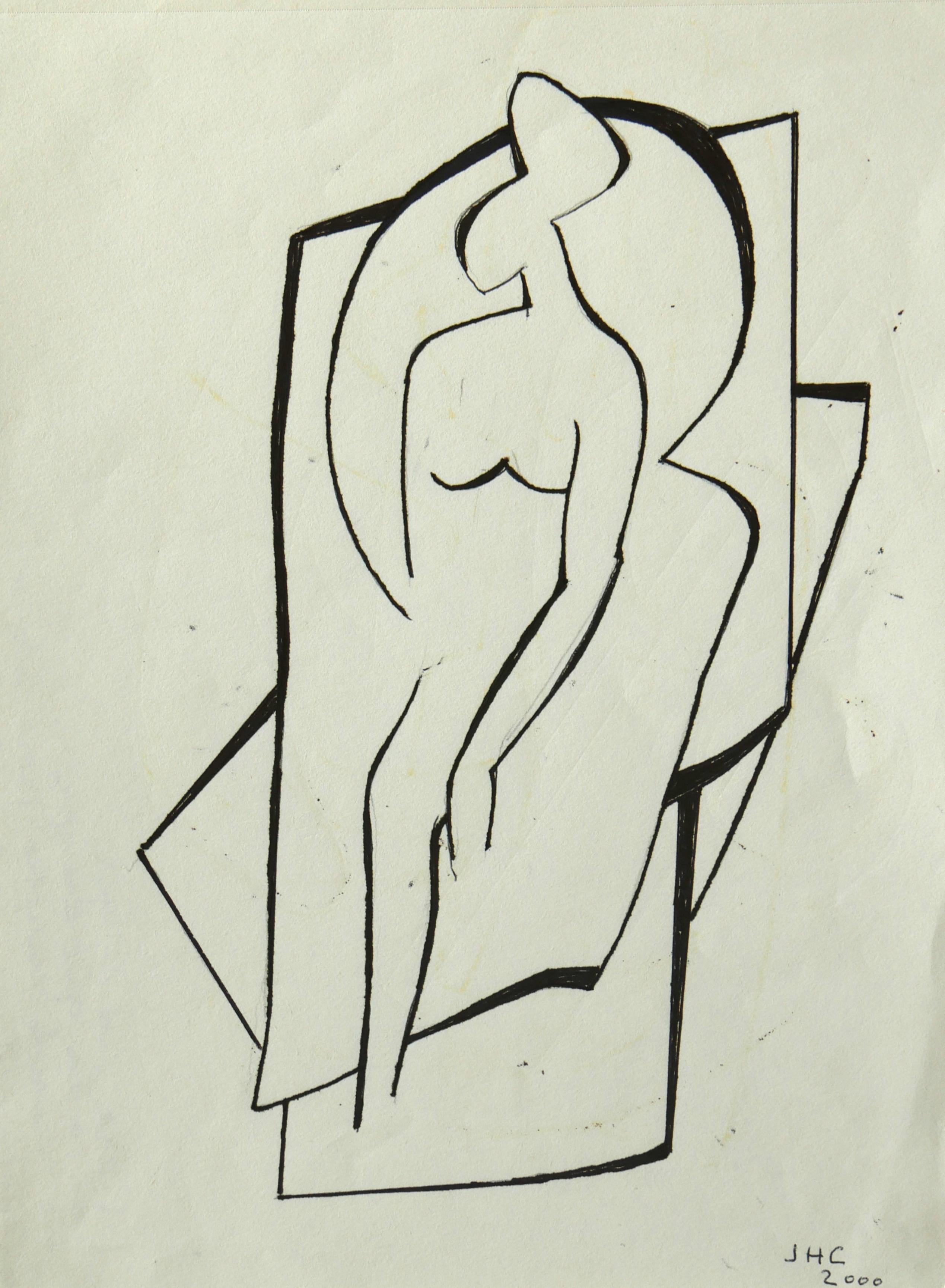 """2000.4. Desnudo de mujer. 28x21 cm. Rotulador negro. Dedicado por el autor a su mujer """"Para mi mujer Ana a la que siempre he querido mucho pero ahora mucho más. Jacinto"""". 2000"""