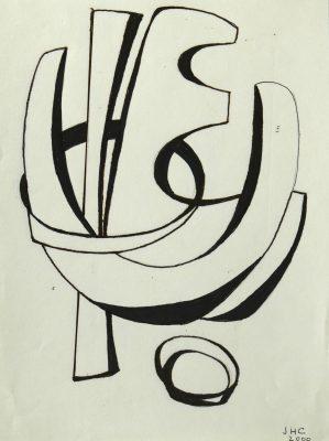 2000.5. Forma abstracta. 28x 21 cm. Rotulador negro. 2000
