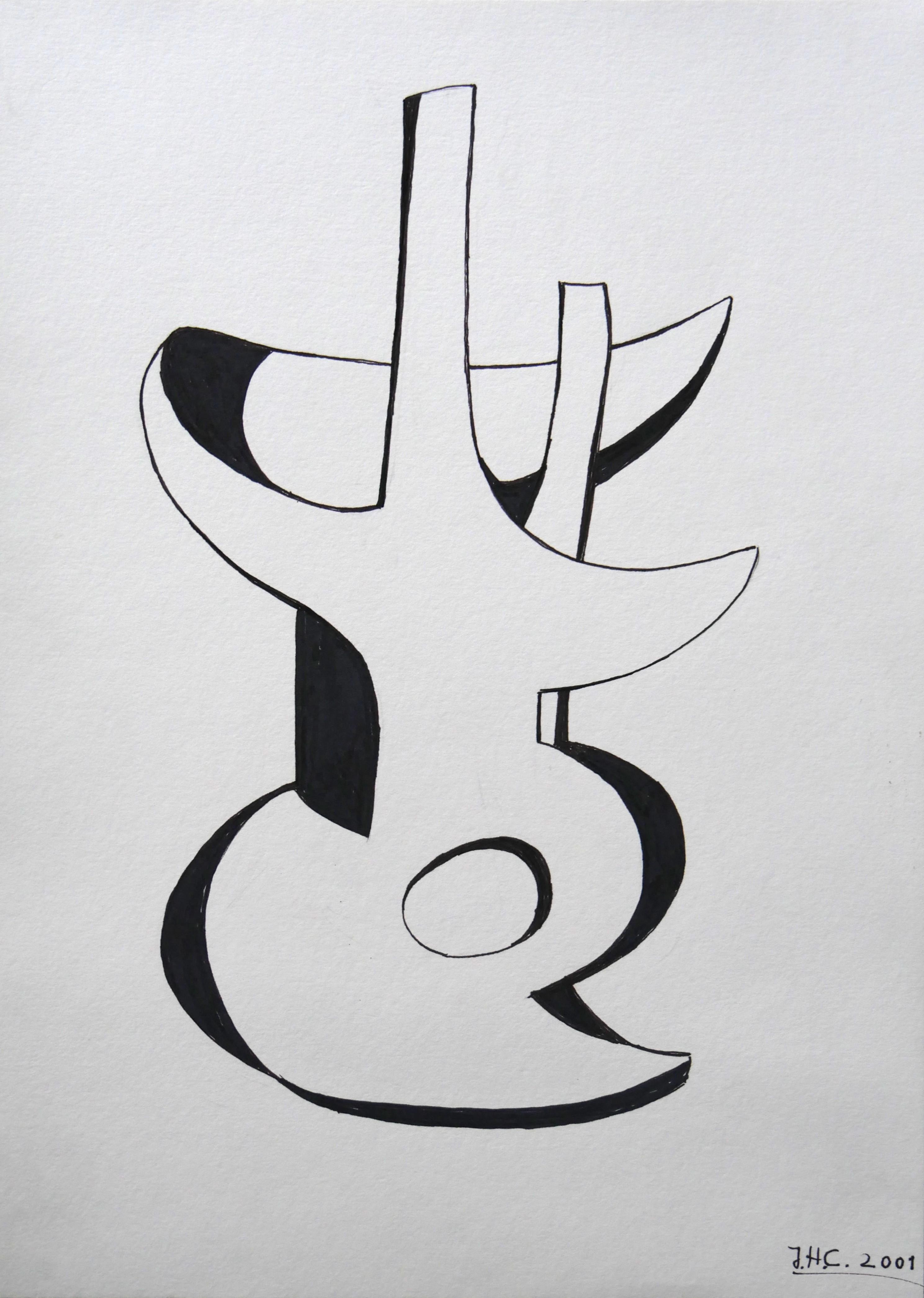 """2001.1. Forma abstracta. 45x 32 cm. Rotulador negro. Dedicado por el autor a su hija Ana """"A mi hija Ana María como recuerdo de un día de su cumpleaños. Jacinto"""". 2001"""
