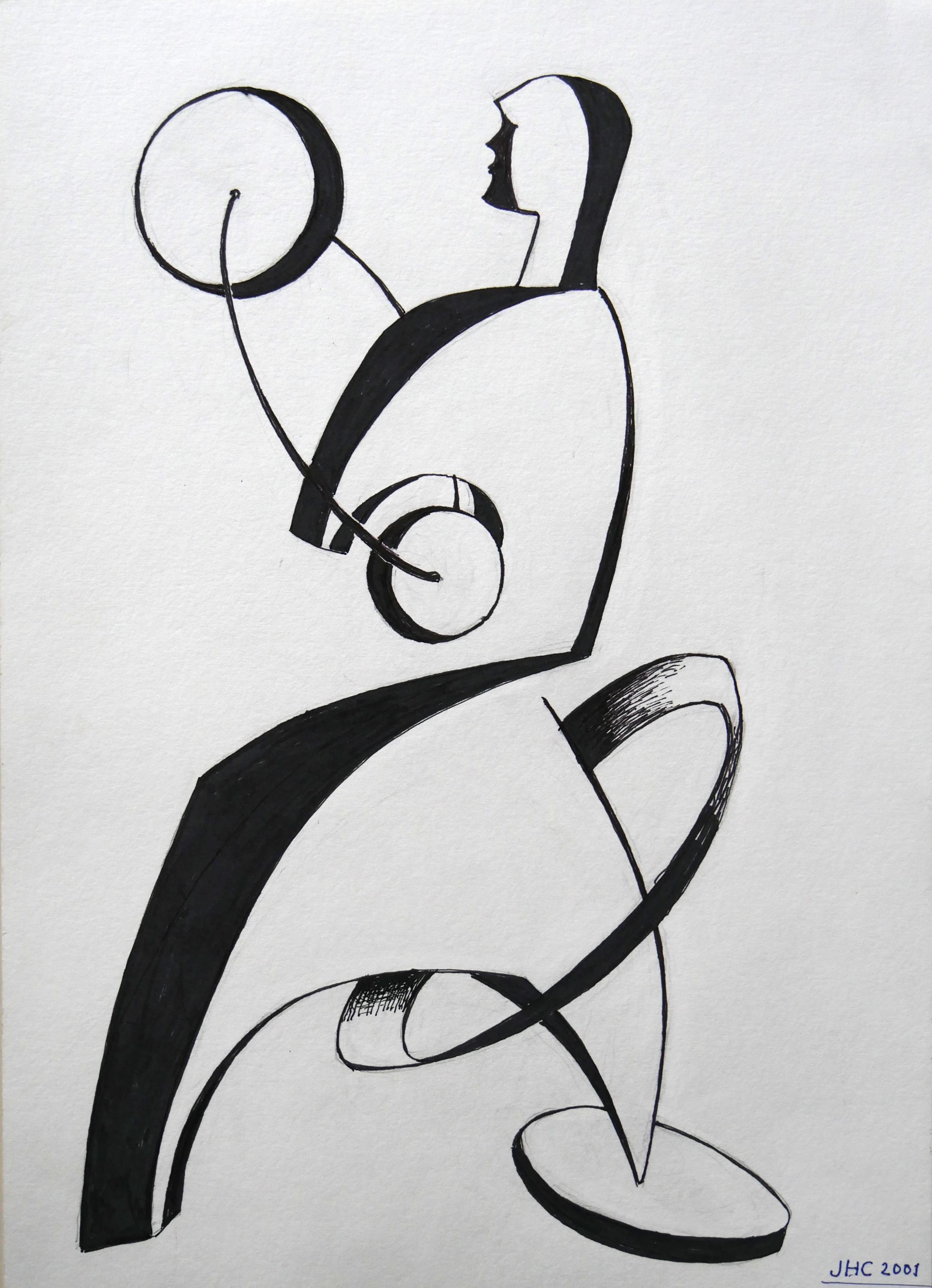 """2001.2. Mujer. 45x32 cm. Rotulador negro. Dedicado por el autor a su mujer """"Para Ana, mi mujer a la que siempre he querido mucho y ahora mucho más"""". 2001"""