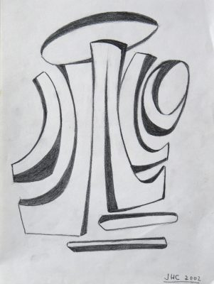 2002.2. Forma abstracta. 28x21 cm. Lápiz. 2002