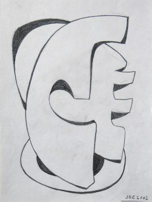 2002.3. Forma abstracta. 28x21 cm. Lápiz. 2002